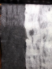 Felted black mohair and 'merino and mohair' runners with black freshwater pearl embroidery detail